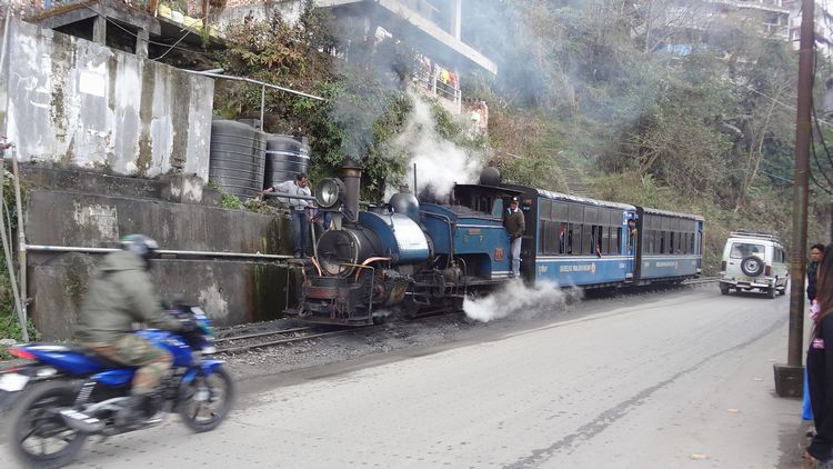 Train de Darjeeling le long de la route